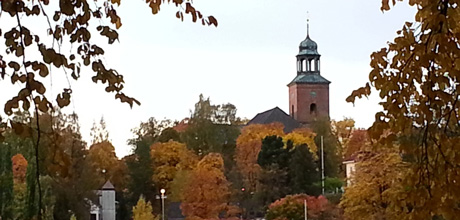 Kongsberg Church in autumn