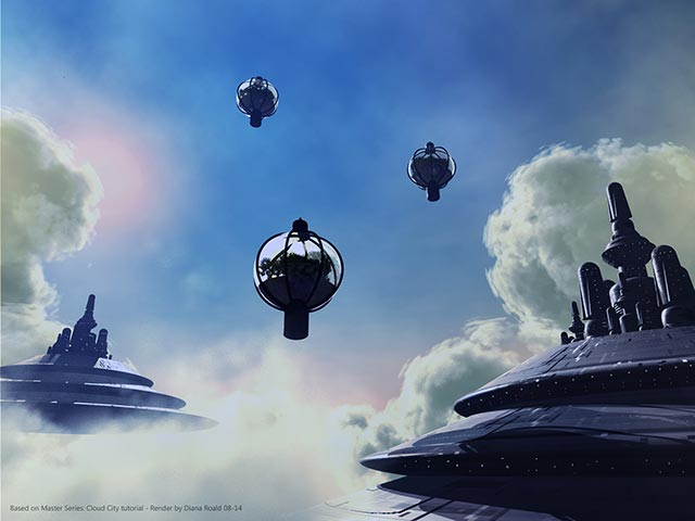 Bryce Master Series: Cloud City - Render by Diana Roald - August 2014