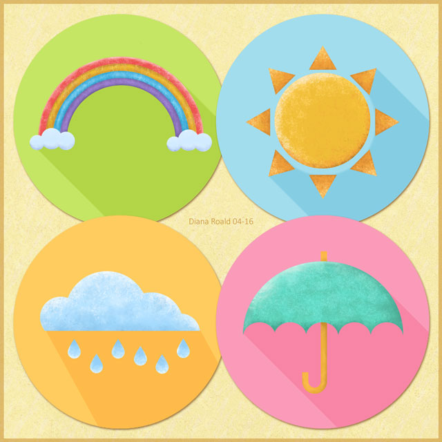 Flat Weather Icons in Photoshop, made by Diana Roald 04-16