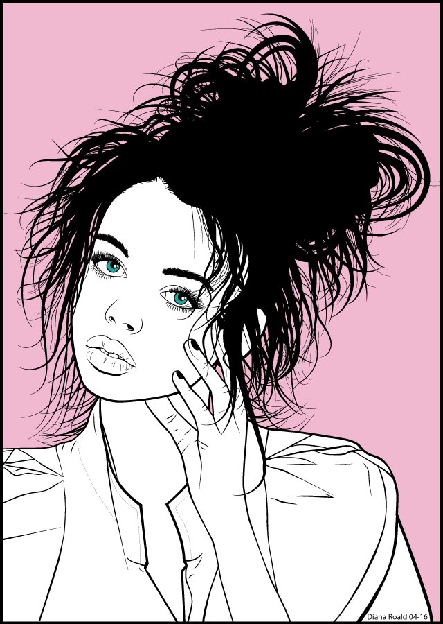 Vector Portrait - Line Art, made by Diana Roald 04-16